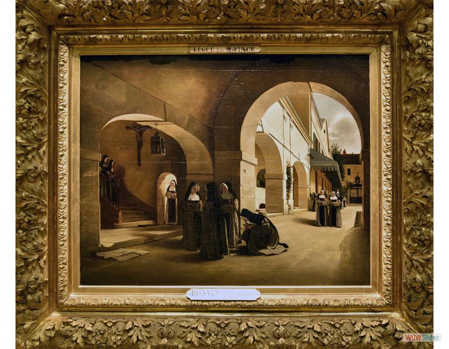 Francoi Bonvin (Paris, 1817 - Saint Germain-en-Laye 1887) Ave Marie: intérieur du couvent d'Aramont, 187