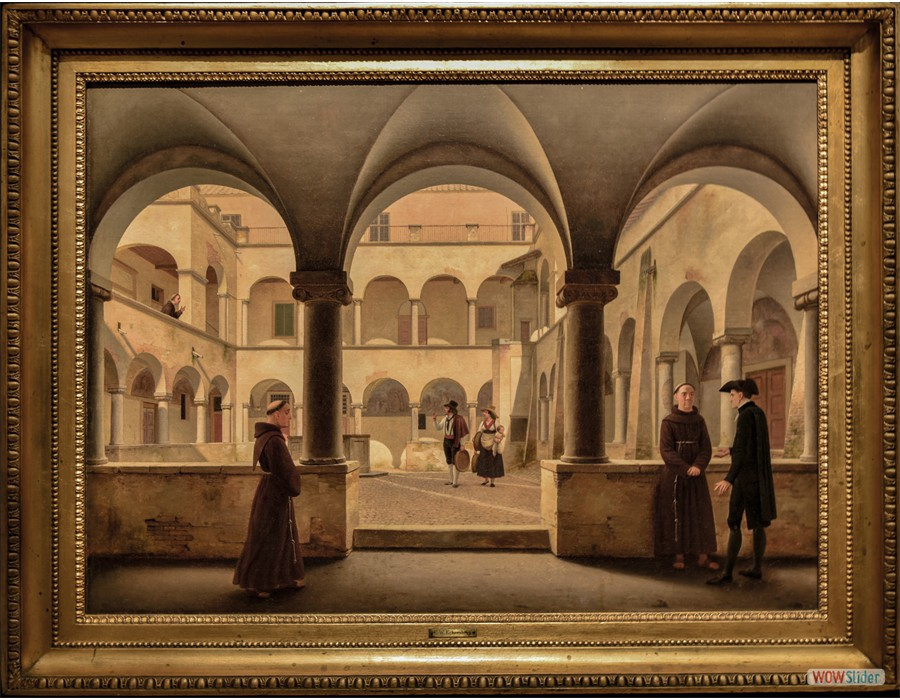 Christoffer Wilhelm Eckersberg - (Blakrog, 1783 - Copenhague, 1853) Le grand cloître de Santa Maria d'Arcoeli, 1824)