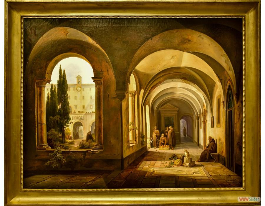 Jodicus Sebastien Van den Abeele (Gand, 1797 - 1855) Moine Franciscain dans le cloître de Santa Maria d'Aracoeli, 1842)