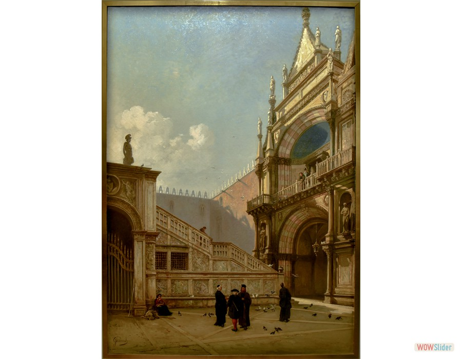 Jacques Guiaud (Chambery, 1811 - Paris, 1876) L'escalier des Géants à Venise, 1874