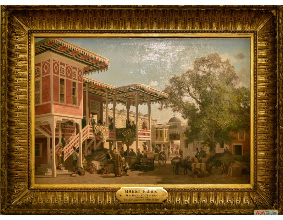 Fabius Brest (Marseille, 1823 - 1900) Cour de Caravansérail à Trébizonde, 1864