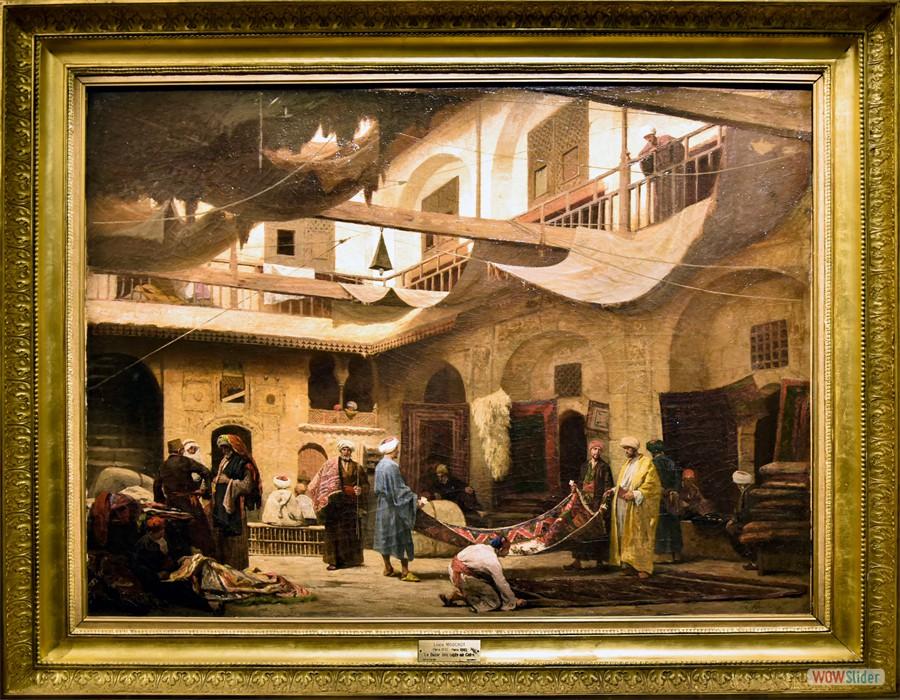 Louis Claude Mouchot (Paris, 1830 - 1891) Le Bazar des tapis dans le Khan au Caire, 1866