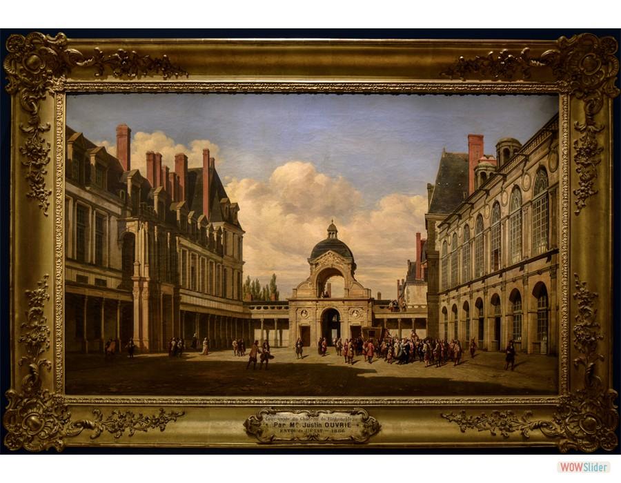 Pierre Justin Ouvrié (Paris, 1806 - Rouen ?, 1879) Cours Ovale du Château de Fontainebleau. Arrivée de Chritine de Suède, 1840